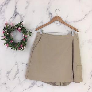 Coldwater Creek Tan Mini Faux Wrap Pockets Skorts